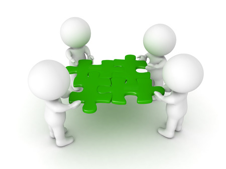 compatibility: 3D Characters holding four green puzzle pieces. Image symbolizing teamwork.