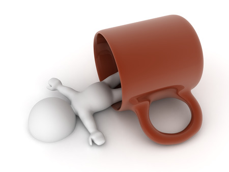 3D illustration of character falling asleep in a cup of coffee. Isolated on white.