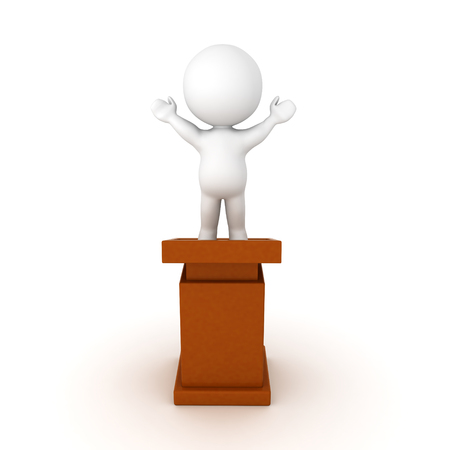 3D Character standing on top of a lectern with his arms raised. Isolated on white.