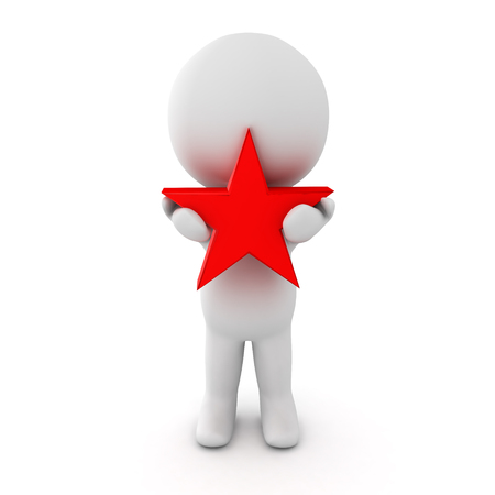 clutch: 3D Character holding a red star in his hands. Isolated on white.