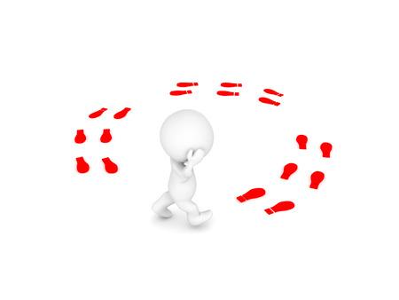 3 D 文字は、円での歩行と思考。白で隔離。