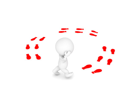3D Character walking in  circles and thinking. Isolated on white. Stock Photo