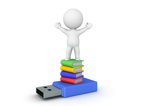 3D Character sitting on top of stack of books and usb stick. Isolated on white. Stock Photo