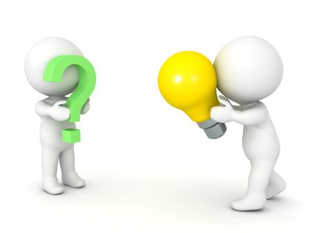 3D illustratie beeltenis van het concept van het aanbieden van een oplossing voor een probleem. Geïsoleerd op wit.