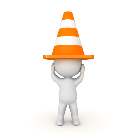 3D Character with orange traffic cone on his head. Image depicting emotional distress Imagens