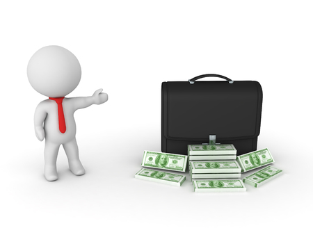 small business: 3D Character showing a black briefcase with stacks of cash. Isolated on white.