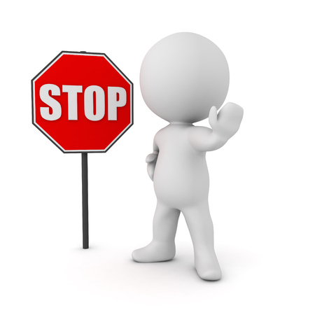 traffic warden: 3D Character next to a stop sign. The character is making the stop  hand gesture. Stock Photo
