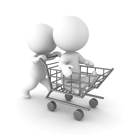 3D Character pushing another one in shopping cart. Isolated on white.
