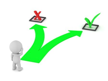 Carácter 3D con una flecha que muestra una opción entre un símbolo X y un símbolo de verificación. Aislado en el fondo blanco Foto de archivo - 85508470