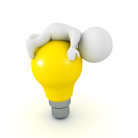3D Character lying on top of bright yellow light bulb. Image depicting the concept of creative block. Stock Photo - 85710467