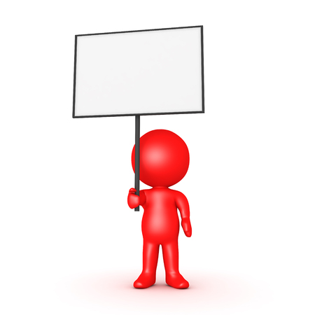 social gathering: Red 3D Character holding a blank sign placard. Isolated on white.
