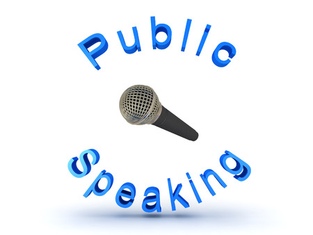 transmit: 3D illustration of microphone and public speaking sign. Isolated on white.
