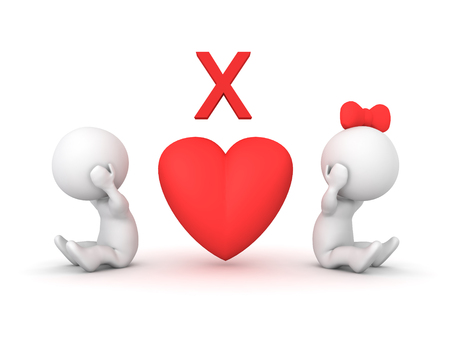 3D illustration depicting relationship problems or a break up. Image relating to romantic dating. Stock Photo