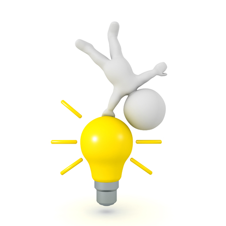 3D Character doing a hanstand on a bright yellow light bulb. Isolated on white.
