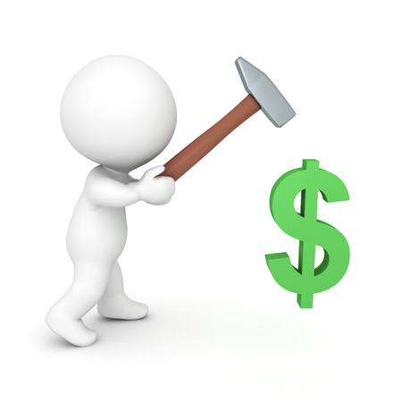3D Character hitting a dollar symbol with a hammer. Isolated on white. Stok Fotoğraf