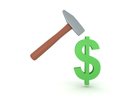 3D illustration of dollar symbol  getting hit by hammer. Isolated on white. Stock Photo