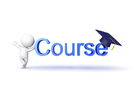 3D Character showing a sign of an educational course. Isolated on white. Stock Photo