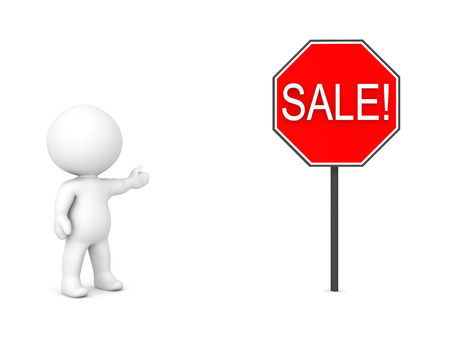 running off: 3D Character showing red sign with the text SALE. Isolated on white.