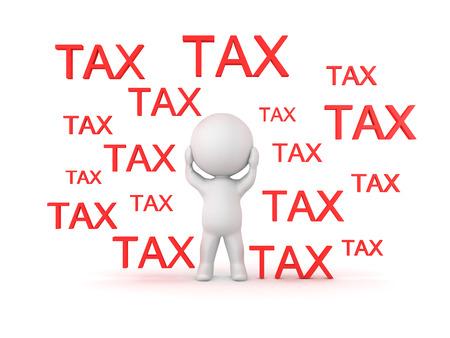 3D illustratie die het concept afschildert dat door belastingen wordt overweldigd. Geïsoleerd op wit.