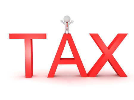 3D Character sitting on top of TAX sign. Isolated on white.