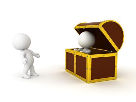 3D 캐릭터는 다른 사람이 보물 상자에 있다는 것에 놀랐습니다. 흰색으로 격리.
