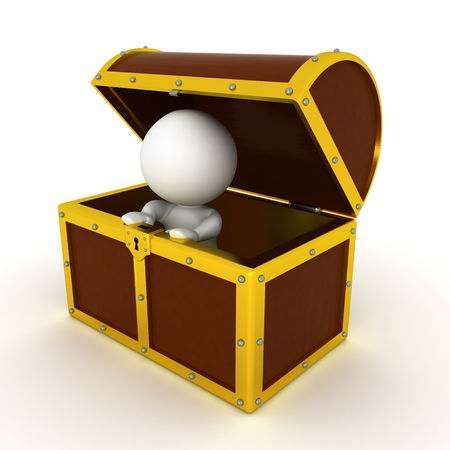 3D Character inside of a treasure chest. Isolated on white.