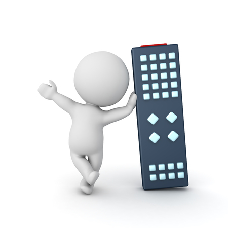 3D Character waving and leaning on giant remote control. Isolated on white.  Stock Photo