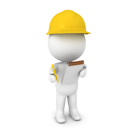 collect: 3D illustration of a researcher wearing yellow hard hat. Isolated on white.