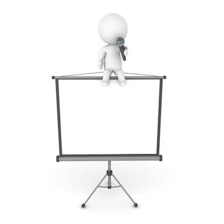 3D Character sitting on top of a white screen and talking on a microphone. Image relating to public speaking or holding a presentation.
