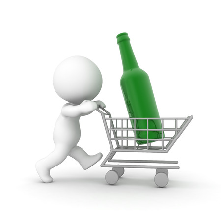 3D Character pushing a shopping cart with a giant bottle in it. Image can convey consumerism or alcoholism,