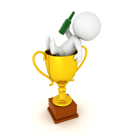 birthday celebration: 3D Character celebrating inside of a golden trophy. Isolated on white.