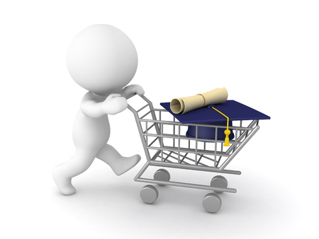 3D Character pushing a shopping cart with a diploma inside of it. Isolated on white.