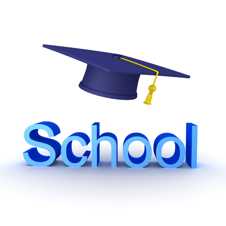 3D illustration of school sign with big graduation hat above. Isolated on white.