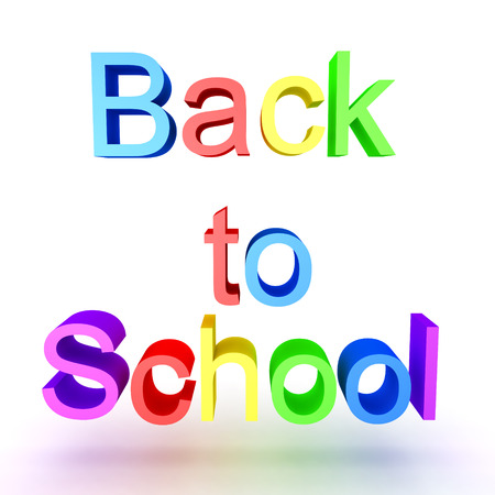 Colorful 3D text saying Back to School. Isolated on white. Stock Photo