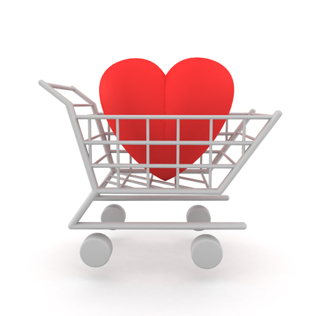 3D Illustration of a heart inside a shopping cart. Image depicting the concept of love being for sale, or trying to buy love.