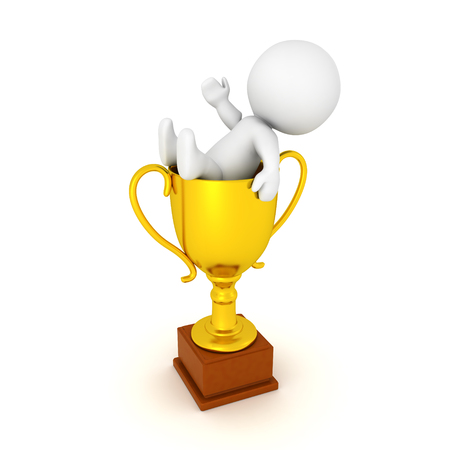 birthday celebration: 3D Character lounging inside of a golden trophy. Image relating to celebration or victory.