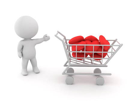 3D Character showing a shopping cart filled with hearts. Isolated on white. Stock Photo
