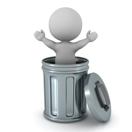 金属製のゴミ箱の中の 3 D キャラクター。白い背景上に分離。 写真素材