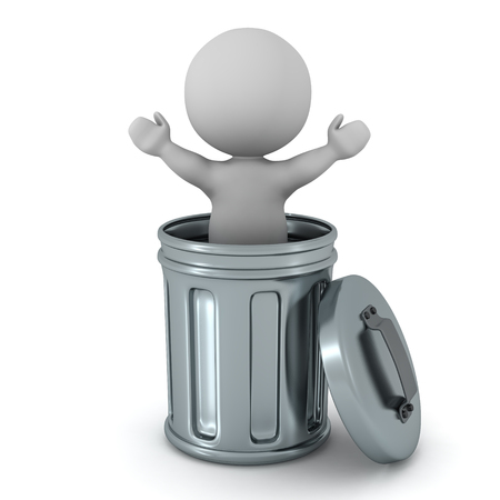 3D character inside a metallic trash can. Isolated on white background.