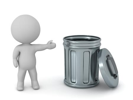3 D キャラクターが金属製のゴミ箱を示します。白い背景上に分離。 写真素材