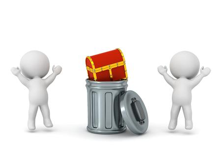 두 개의 3D 문자 위로 점프 하 고 작은 보물 상자를 찾을 수있는 응원 쓰레기통 안에. 흰색 배경에 고립. 스톡 콘텐츠