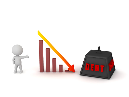 3D character showing a statistic going down and a large weight with debt written on it. Isolated on white background.
