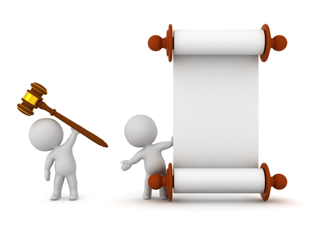 3D characters with a large wooden gavel and a white scroll. Isolated on white background.