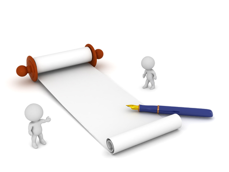 3D characters with a large scroll paper and a fountain pen ready to write. Isolated on white background. Stock Photo
