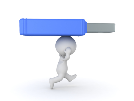 3D Character running with a giant usb stick on top of him. Isolated on white. Stock Photo