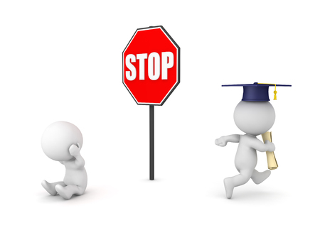3D illustration depicting the concept of getting ahead due to higher  education. Isolated on white.