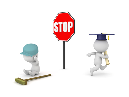 3D illustration showing that people with no higher education have less opportunities. Isolated on white. Stock Photo
