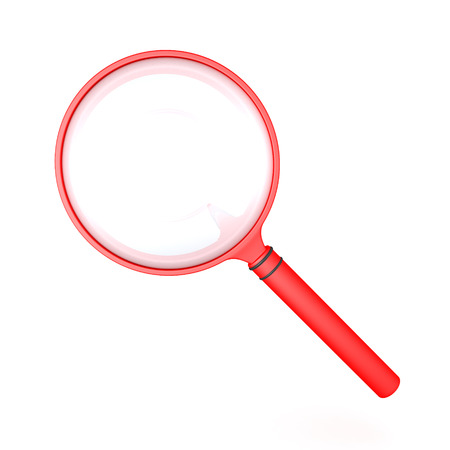 3D illustration of a red magnifying glass. Isolated on white.
