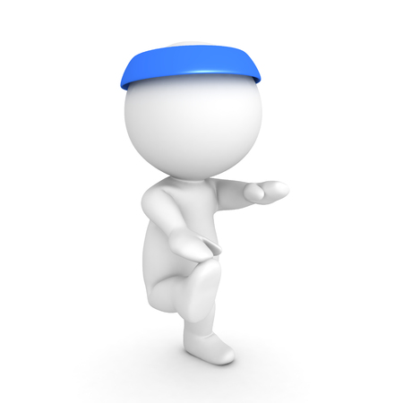 3D Character wearing blue bandana doing exercises. Isolated on white. Stock Photo