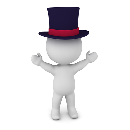 3D character wearing a top hat. Isolated on white background. Stock Photo